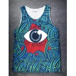 Blue Bloody Totem Triangle Eyes Net Sleeveless Mens T-shirt Vest Sports Tank Top