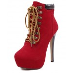 Red Punk Rock Lace Up Stiletto High Heels Platform Rider Boots