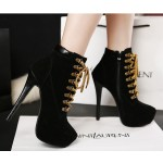 Black Punk Rock Lace Up Stiletto High Heels Platform Rider Boots