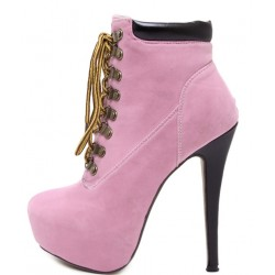 Pink Punk Rock Lace Up Stiletto High Heels Platform Rider Boots