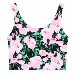Black Pink Yellow Vintage Flowers Florals Sleeveless T Shirt Cami Tank Top