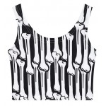 Black White Bones Sleeveless T Shirt Cami Tank Top