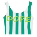 Green White Stripes DOPE Sleeveless T Shirt Cami Tank Top
