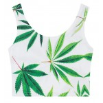White Green Hemp Leaves Sleeveless T Shirt Cami Tank Top