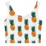White Pineapples Floral Sleeveless T Shirt Cami Tank Top