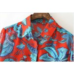 Red Blue Flowers Florals Vintage Retro Pattern Long Sleeves Blouse Shirt