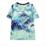 Blue Snow Mountain Crystal Peak Funky Short Sleeves T Shirt Top