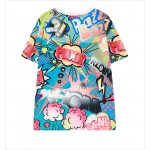Blue Pink Colorful Cartoon Funky Short Sleeves T Shirt Top
