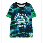 Blue Indiana Varsity  Funky Short Sleeves T Shirt Top