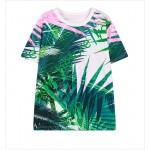 Green Pink Palm Leaves Funky Short Sleeves T Shirt Top