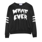 Black White What Ever Long Sleeve Sweatshirts Tops
