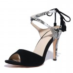 Black Suede Snake Pattern Strappy Tassels High Heels Stiletto Sandals Shoes