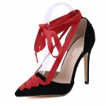 Black Red Pointed Head Ballerina Ballets Strappy High Heels Stiletto Sandals Shoes