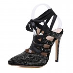 Black Diamantes Pointed Head Ballerina Ballets Strappy High Heels Stiletto Sandals Shoes