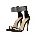 Black Suede Ankle Cuff Diamantes Bling Bling High Heels Stiletto Sandals Shoes
