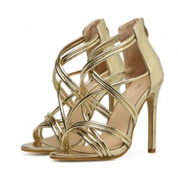 Gold Metallic Cross Strappy Bridal Evening Gown High Heels Stiletto Sandals Shoes