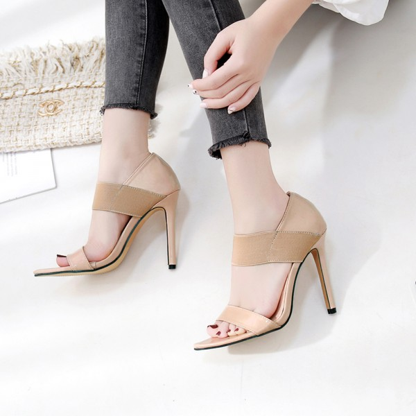Khaki Patent Strappy Elastic Band High Heels Stiletto Sandals Shoes
