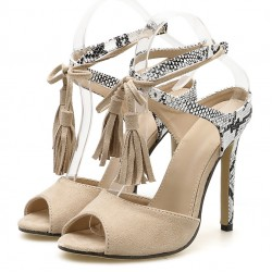 Khaki Suede Snake Pattern Strappy Tassels High Heels Stiletto Sandals Shoes