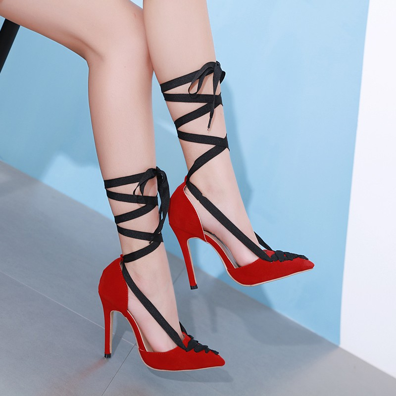 red and black high heel shoes