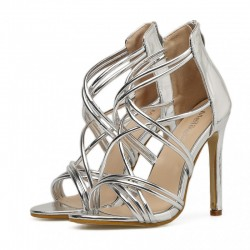 SIlver Metallic Cross Strappy Bridal Evening Gown High Heels Stiletto Sandals Shoes
