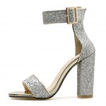 SIlver Glittering Bling Bling Sexy High Block Heels Sandals Shoes