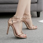 Gold Thin Strap Night Gown Sexy High Heels Stiletto Sandals Shoes