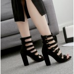 Black Suede Strappy High Block Heels Sandals Shoes