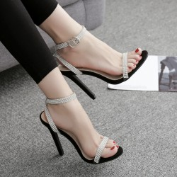 Black Diamantes Night Gown Sexy High Heels Stiletto Sandals Shoes