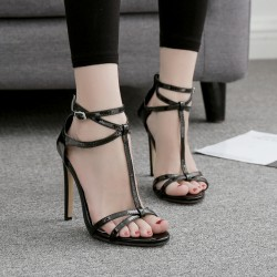 Black Thin Strap Night Gown Sexy High Heels Stiletto Sandals Shoes
