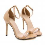 Khaki Thin Strap Metal Studs Sexy High Heels Stiletto Sandals Shoes