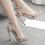 Silver Diamantes Bridal Night Gown Sexy High Heels Stiletto Sandals Shoes