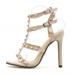 Khaki Thin Strap Square Studs Night Gown Sexy High Heels Stiletto Sandals Shoes