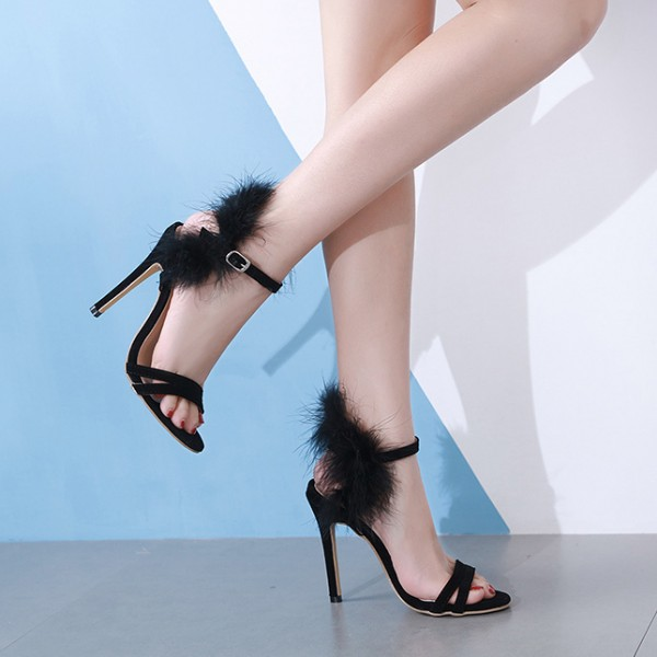 Black Back Furry Fur Sexy High Heels Stiletto Sandals Shoes