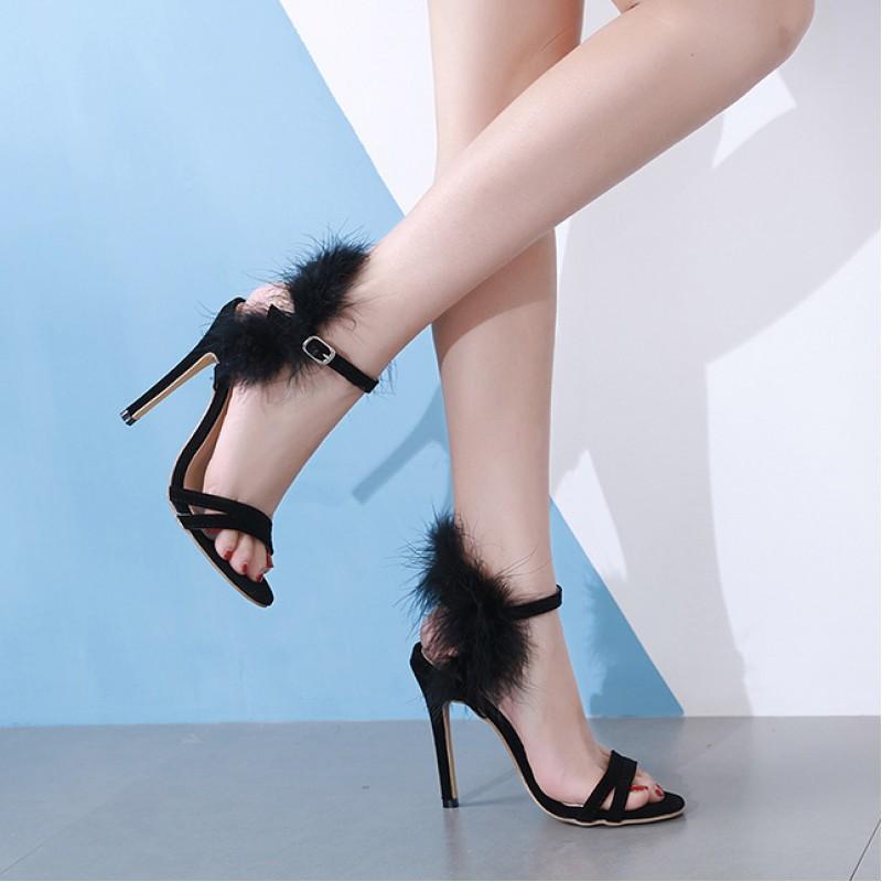black fur high heels