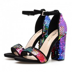 Black Rainbow Sequins Evening Gown High Block Heels Sandals Shoes