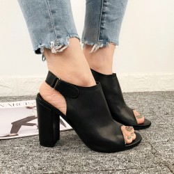 Black Slingback Peeptoe High Block Heels Sandals Shoes