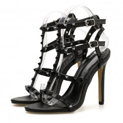 Black Thin Strap Square Studs Night Gown Sexy High Heels Stiletto Sandals Shoes