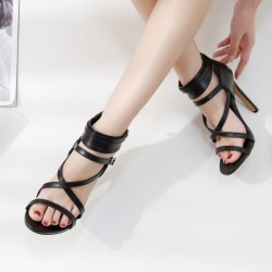 Black Thin Strappy Punk Rock Sexy High Heels Stiletto Sandals Shoes