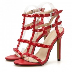 Red Thin Strap Square Studs Night Gown Sexy High Heels Stiletto Sandals Shoes