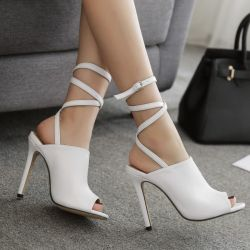 White Peeptoe Strappy High Heels Stiletto Sandals Shoes