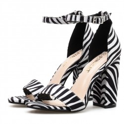 White Zebra Print Block High Heels Sandals Shoes