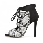 Black White Snake Print Peeptoe Boots High Stiletto Heels Boots Sandals Shoes