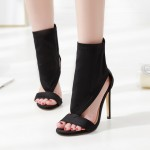 Black Peeptoe Ankle Bootie High Heels Stiletto Sandals Shoes