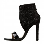 Black Diamantes Ankle Strap Sexy High Heels Stiletto Sandals Shoes