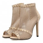 Khaki Sheer Sexy Peeptoe Boots High Heels Stiletto Sandals Shoes
