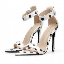 White Black Polkadots High Heels Stiletto Sandals Shoes
