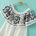 White Blue Vintage Ethnic Flowers Embroidery Off Shoulder Top Blouse