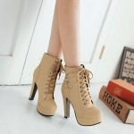 Khaki Punk Rock Lace Up High Top High Heels Platforms Boots Shoes