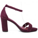 Burgundy Purple Suede Straps High Heels Sandals Shoes