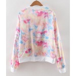 Pink White Pastel Rainbow Gradual Color Long Sleeves Aviator Rider Baseball Jacket